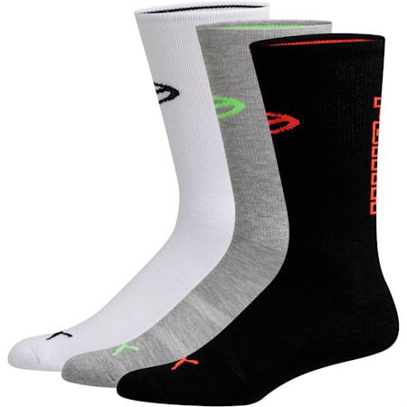 Men's Fashion Crew Socks [3 Pack], WHITE / BLACK, small